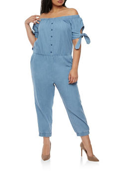Plus Size Off the Shoulder Denim Jumpsuit - 0392038348344