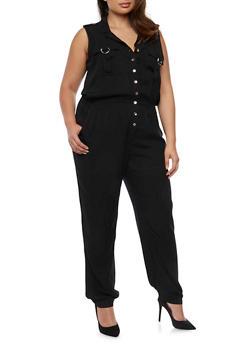 Plus Size Sleeveless Button Front Jumpsuit - BLACK - 0392038348345