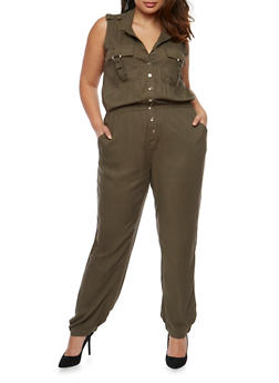 Plus Size Sleeveless Button Front Jumpsuit - 0392038348345