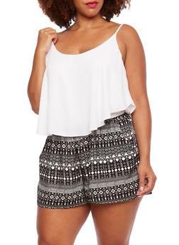 Plus Size Layered Chiffon Romper with Printed Shorts - 0392051060448