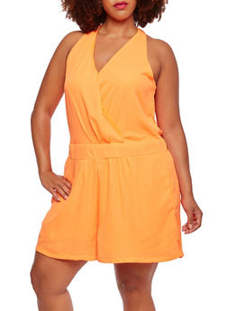 Plus Size Sleeveless Wrap Front Romper - 0392051060519