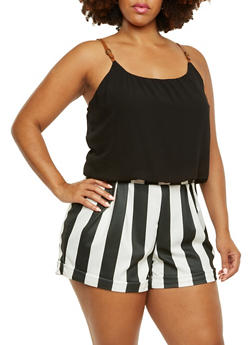Plus Size Romper with Contrast Top and Striped Shorts - 0392051060660