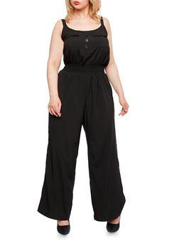 Plus Size Jumpsuit with Smocked Waist - 0392051060734
