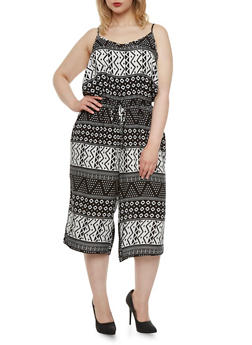 Plus Size Aztec Print Jumpsuit with Scoop Neck - 0392051060743