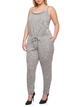 Plus Size French Terry Space Dye Jumpsuit - 0392051060777
