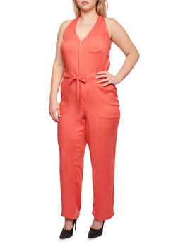 Plus Size Sleeveless Jumpsuit with Zipper and Drawstring Waist - 0392051060801