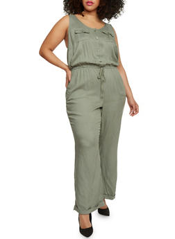 Plus Size Button Front Cuffed Jumpsuit - OLIVE - 0392051060938