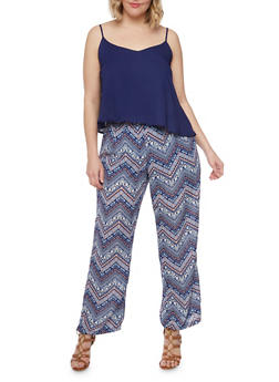 Plus Size Printed Bottom Scoop Neck Jumpsuit with Adjustable Straps - RYL BLUE - 0392051060942