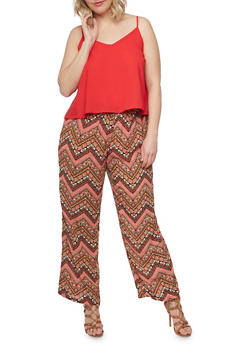 Plus Size Printed Bottom Scoop Neck Jumpsuit with Adjustable Straps - RED - 0392051060942