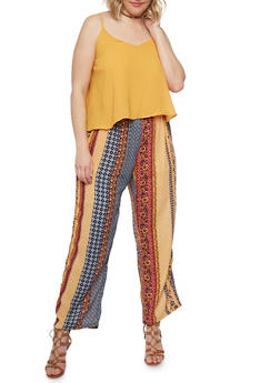 Plus Size Printed Bottom Scoop Neck Jumpsuit with Adjustable Straps - MUSTARD - 0392051060942