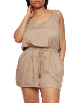 Plus Size Sleeveless Rolled Cuff Romper - KHAKI - 0392051060949