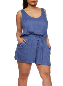 Plus Size Sleeveless Rolled Cuff Romper - 0392051060949