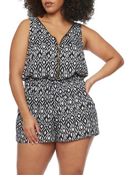 Plus Size Multi Patterned Zip Front Romper - BLACK/WHITE - 0392051061509