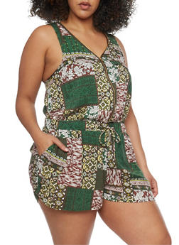 Plus Size Multi Patterned Zip Front Romper - GREEN - 0392051061509