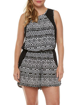 Plus Size Sleeveless Romper with Geo Print and Sheer Lace Sides - 0392051061679
