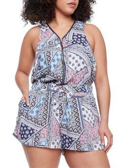 Plus Size Zip Front Printed Romper - 0392051062509