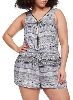 Plus Size Zip Front Printed Romper - BLACK/WHITE - 0392051062509
