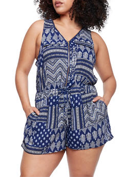 Plus Size Zip Front Printed Romper - NAVY - 0392051062509