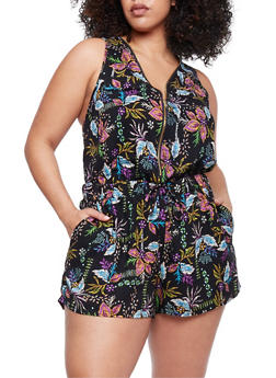 Plus Size Zip Front Printed Romper - MULTI COLOR - 0392051062509