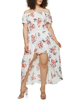 Plus Size Printed Romper with Maxi Skirt Overlay - 0392051063117