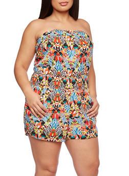 Plus Size Romper in Dashiki Print - 0392051063695