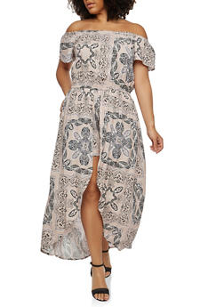 Plus Size Printed Romper with Maxi Skirt Overlay - 0392051064117