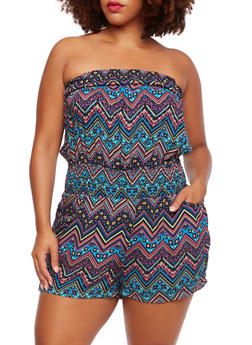 Plus Size Smocked Strapless Romper with Four Pockets and Chevron Print - 0392051064695