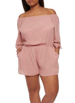 Plus Size Off the Shoulder Gauze Knit Romper with Crochet Trim - 0392054269628