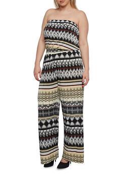 Plus Size Strapless Jumpsuit - 0392056128009