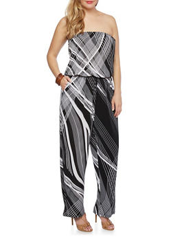 Plus Size Strapless Jumpsuit in Abstract Print - 0392056129079