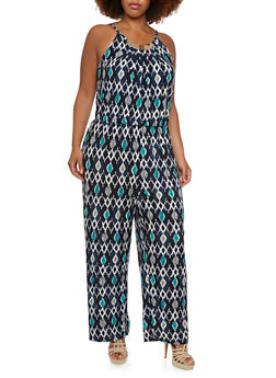 Plus Size Ikat Jumpsuit with Neckline Accent - 0392056129080