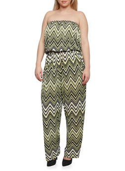 Plus Size Strapless Jumpsuit with Chevron Print Throughout - 0392056129085