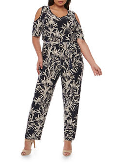 Plus Size Palm Tree Print Cold Shoulder Jumpsuit - 0392056129113