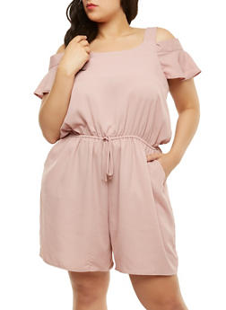 Plus Size  Cold Shoulder Romper - 0392058753004