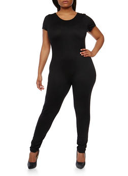 Plus Size Short Sleeve Catsuit - 0392058930220