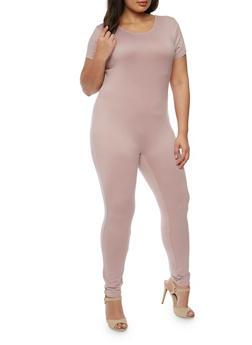 Plus Size Short Sleeve Catsuit - 0392058930220