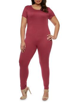 Plus Size Short Sleeve Catsuit - ELDERBERRY - 0392058930220