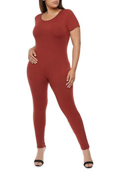 Plus Size Solid Short Sleeve Catsuit - 0392058937322