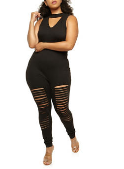 Plus Size Slashed Choker Catsuit - 0392058937419