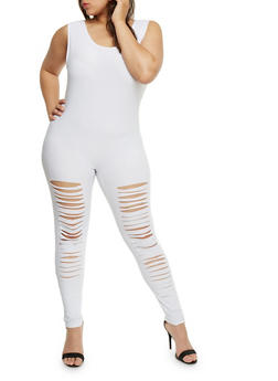Plus Size Slashed Front Catsuit - WHITE - 0392058937519