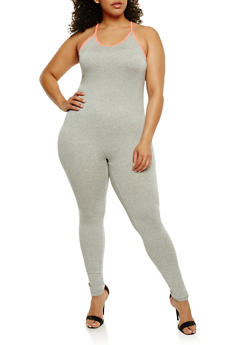 Plus Size Catsuit with Contrast Trim - 0392058937619