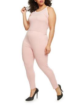 Plus Size Jumpsuit with Contrast Trim - DUSTY ROSE/WHT - 0392058937719