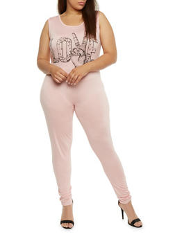 Plus Size Sleeveless Love Graphic Catsuit - 0392058938019