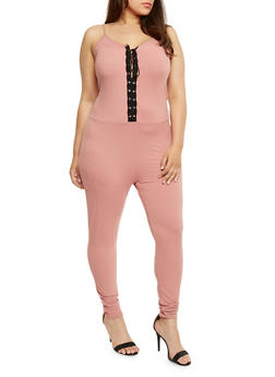 Plus Size Soft Knit Lace Up Catsuit - 0392058938319