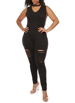 Plus Size Sleeveless Choker Neck Jumpsuit - 0392058938519