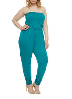 Plus Size Strapless Jumpsuit with Shirred Detail - 0392060582411