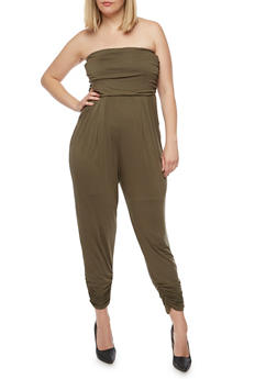 Plus Size Strapless Ruched Jumpsuit - 0392060583411