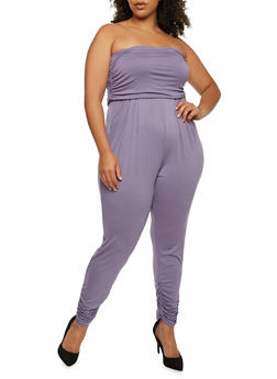 Plus Size Strapless Ruched Jumpsuit - DUSK - 0392060583411