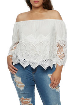 Plus Size Off the Shoulder Crochet Trim Top - 0803035042240