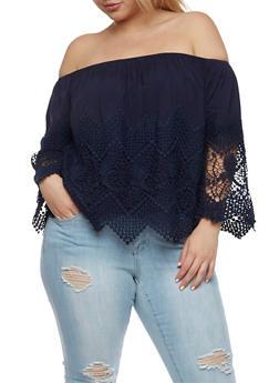 Plus Size Off the Shoulder Crochet Trim Top - 0803035042240